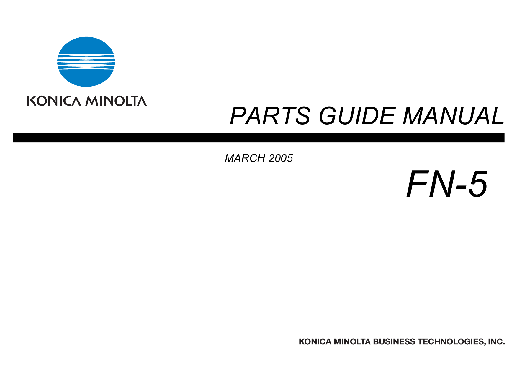 Konica-Minolta Options FN-5 Parts Manual-1